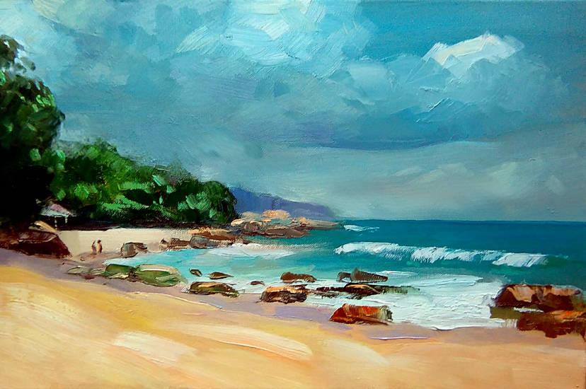 Учебная демо-версия морского пейзажа,исполненная в синхронной работе с учениками студии.Холст,масло,40x60 см.2017 г.
