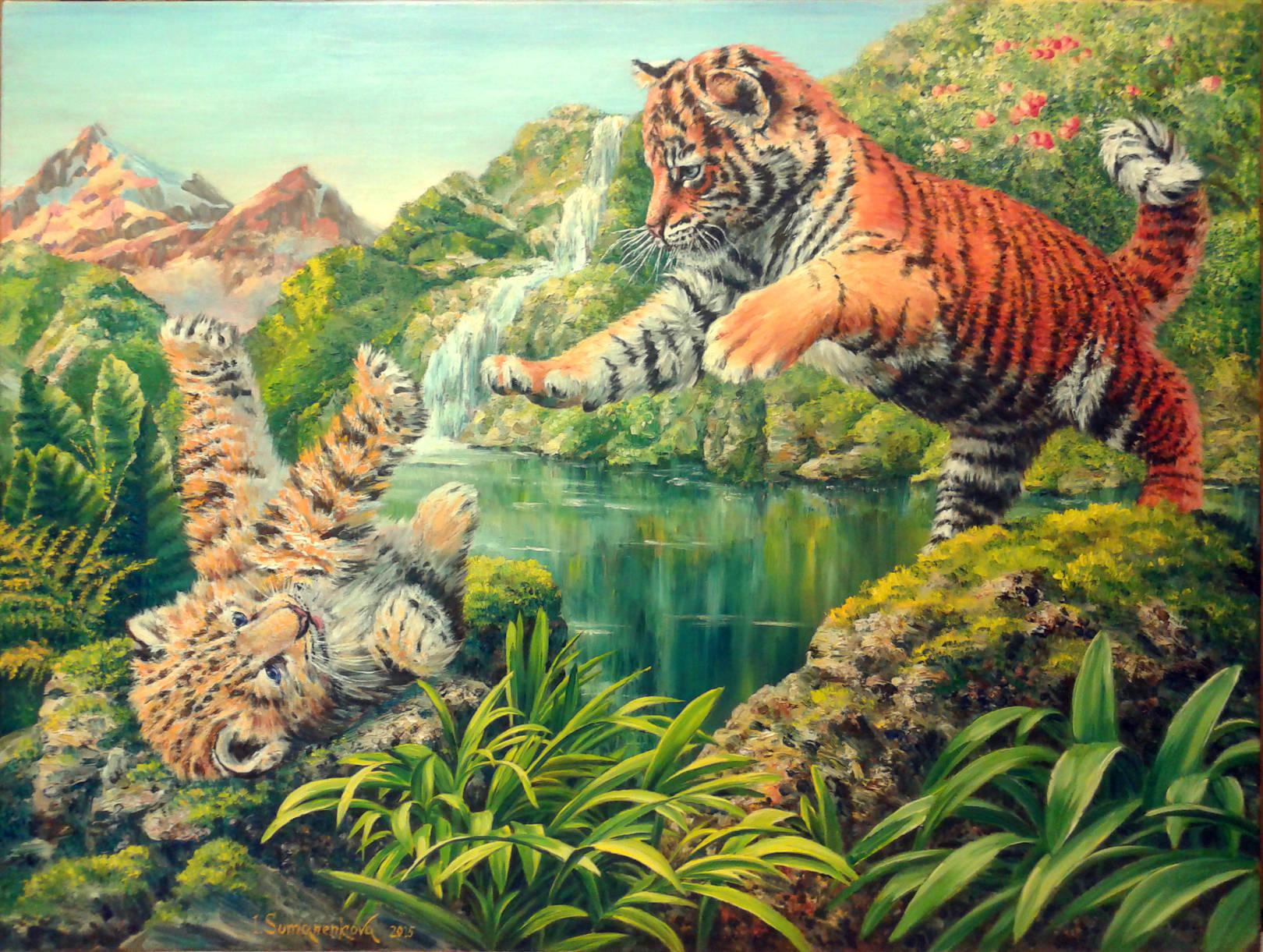 Где-то в джунглях Индии / Somewhere in jungle... 60 х 80 см, холст, масло, 2015 г