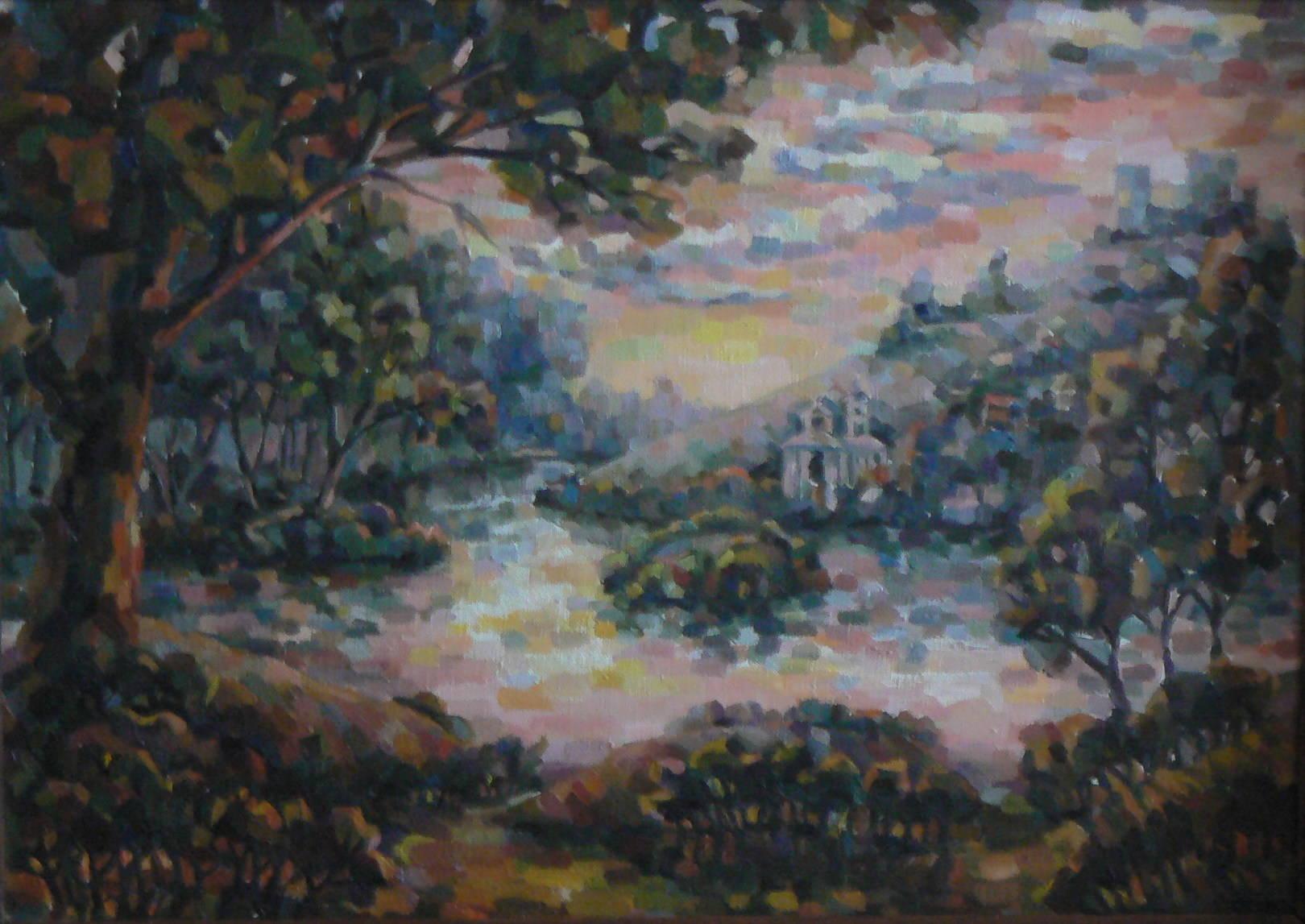 Розовый закат на реке Везёлке