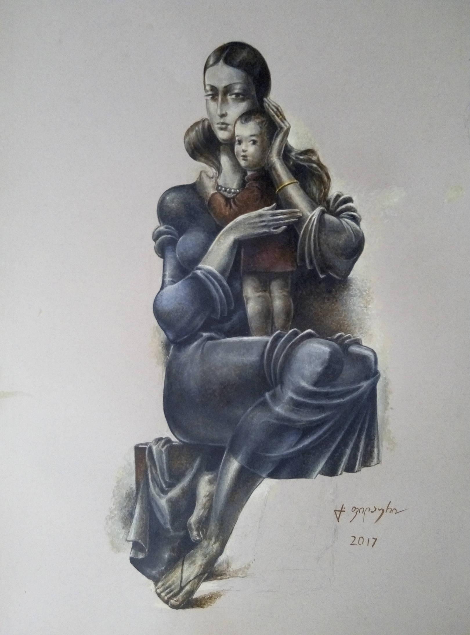 «Мать и дитя»          бумага, акварель, гуашь «Mother and child»   paper, aquarelle, gouache 70x50, 2017