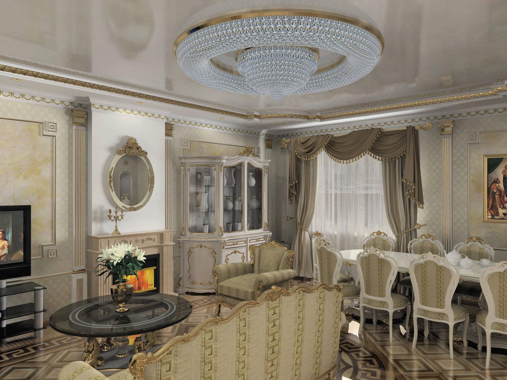 Гостиная, столовая, кухня_классическая тема
