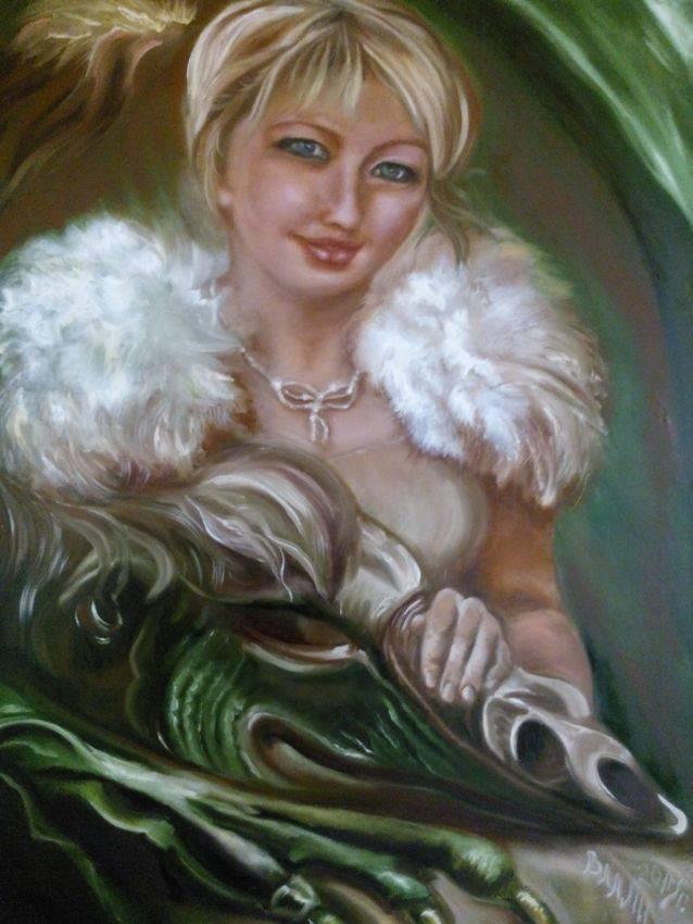 Дама с Драконом. Автопортрет. Принимаю заказы на портреты. Холст, масло. Размер: 60х80 см