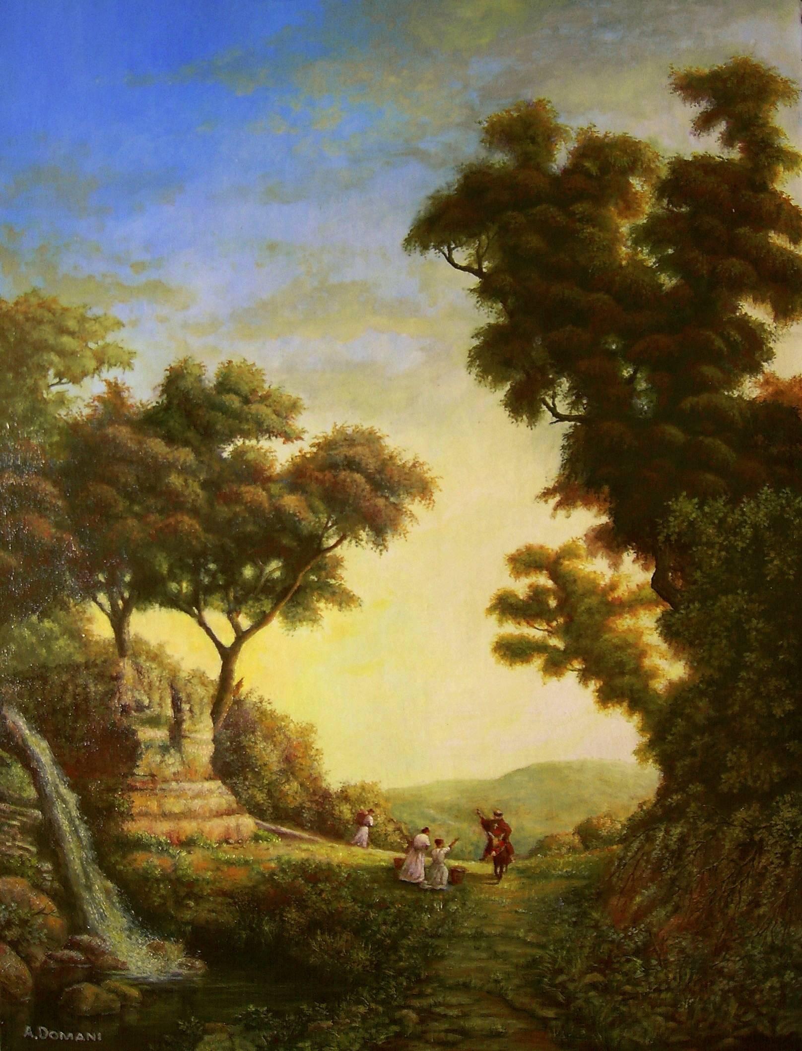 Пейзаж с крестьянками и духовной особой ( холст, масло 45 х 60 )