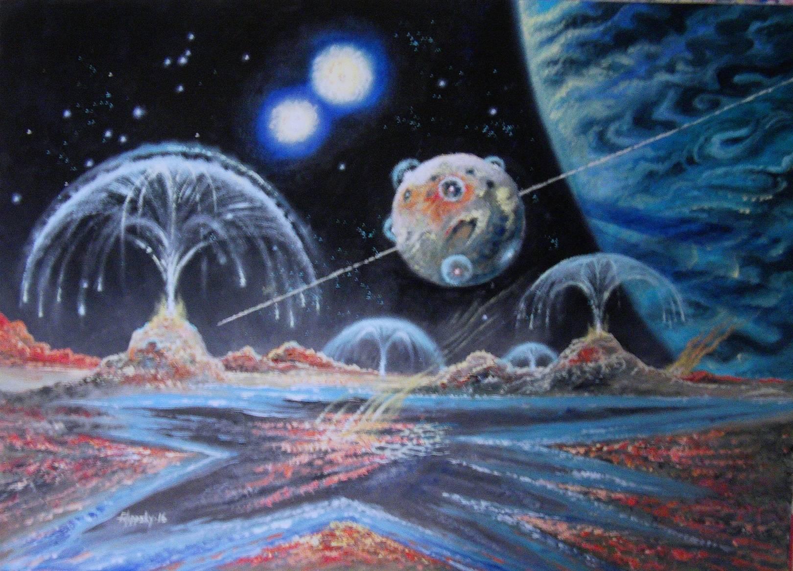 """""""Вулканические луны экзопланеты"""".Картон,масло,60х40 см."""