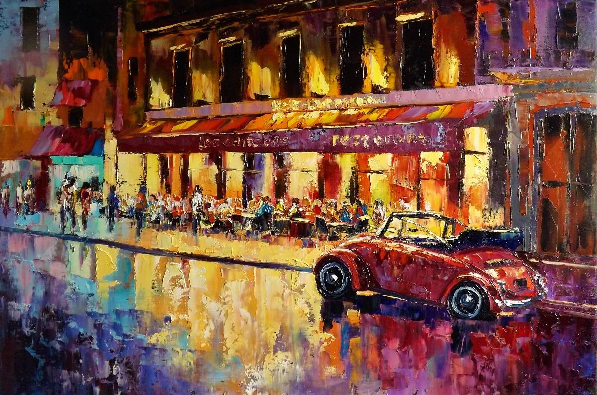 Ночь на Парижской улице.х.м.60х100