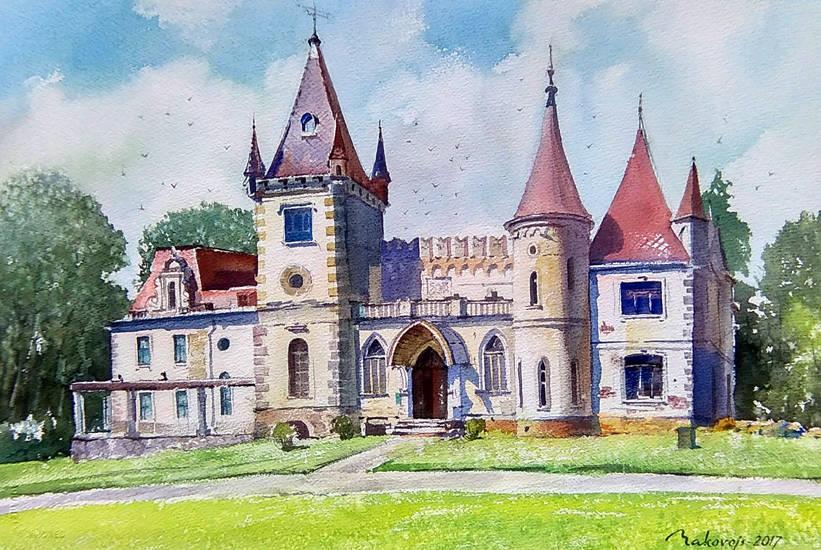 Пленер в небольшом латвийском городке Гулбене,июнь 2017,старинный замок барона близ города.38*57 см.исполнялось на бум.Arches 300 гр.