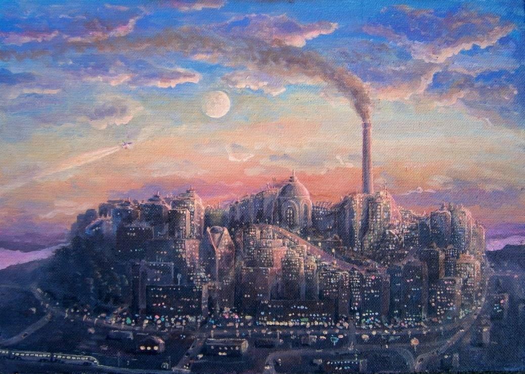 Картина город с сигарой