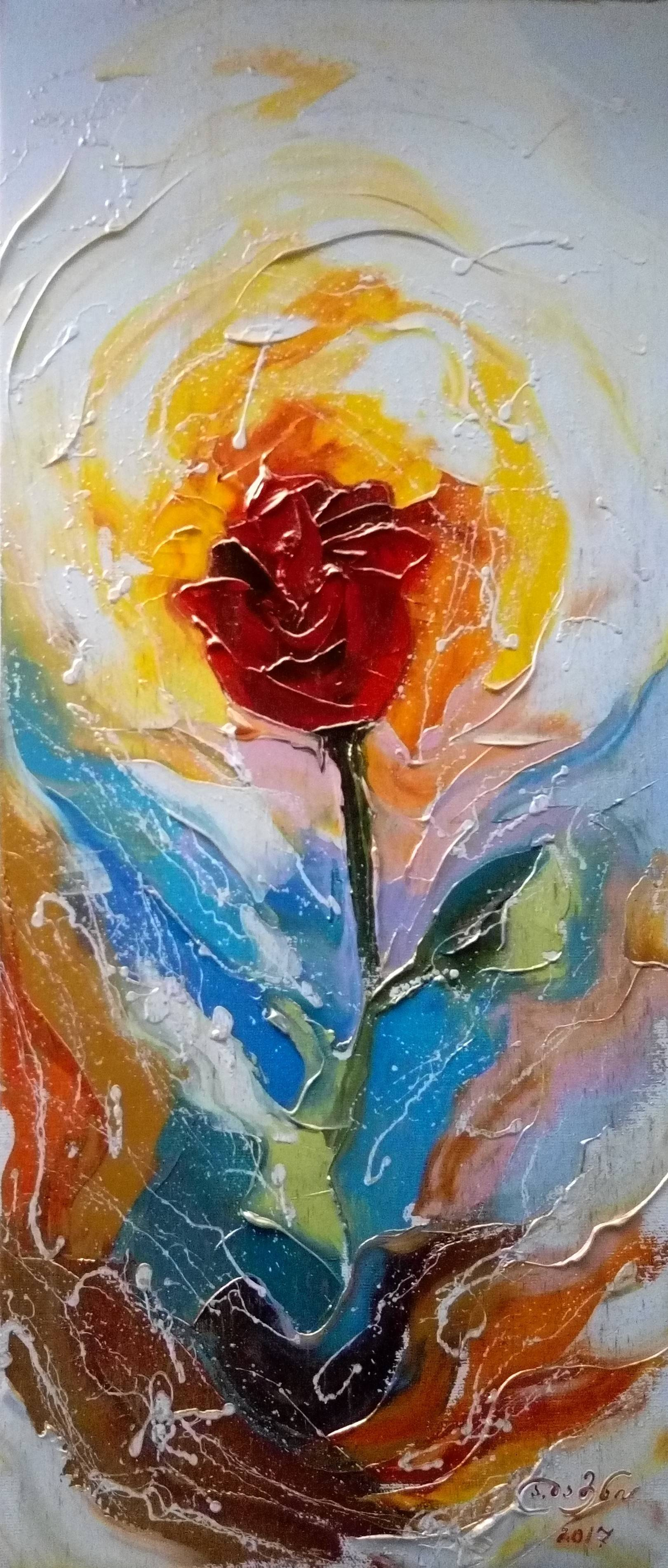 «Роза»        холст, масло «Rose»        oil on canvas  70x30, 2017