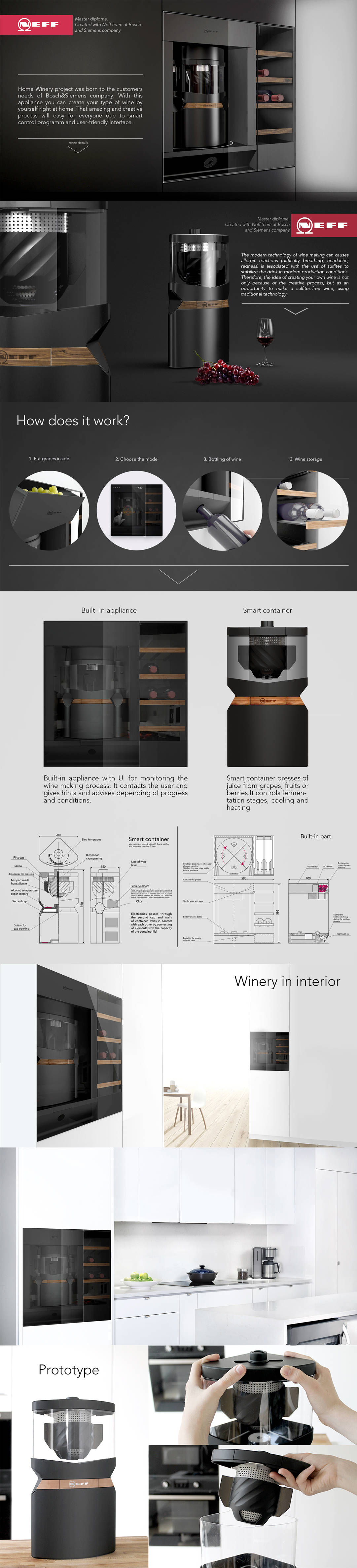 There is a master's diploma project created for Bosch Siemens company. The home winery is a built-in appliance for kitchen environment which help you to create your own wine at home. You can use as a fresh grapes, fruits and berryes as a sublimation product. It's easy and youll get a result wich you can proud. This design used a few new tecnologies, for example Peltier element as a cooling,