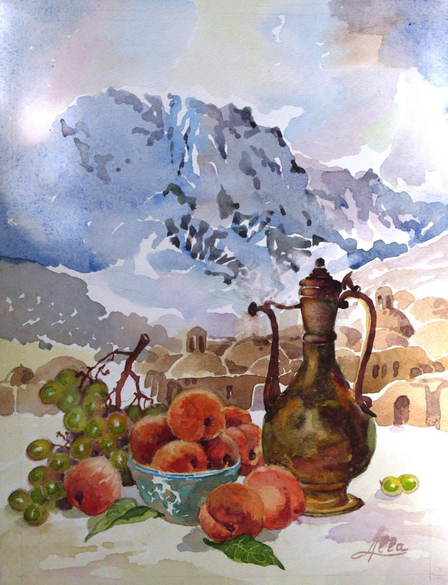 Кумган с персиками акварель