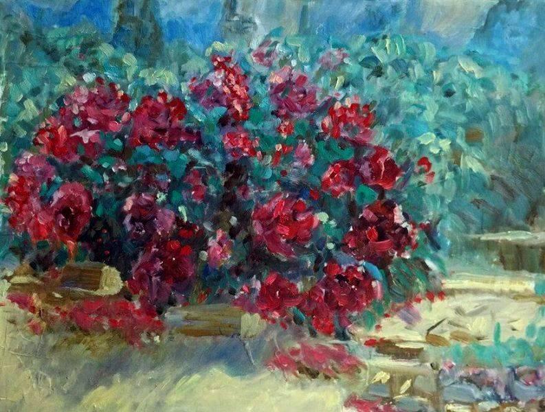 Крымские розы. Грунтованный картон,масло. 40 х 30.