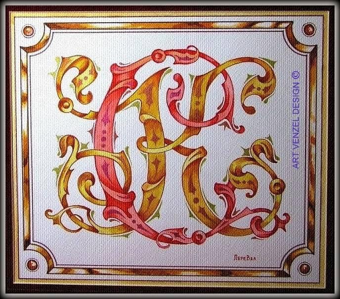 """monogram """"С.К."""" ================ Личный вензель на заказ для Сергея Коровина. /смешанная техника — акварель, темпера, акрил, пастель, фактурная бумага, 33 х 27 см.../"""