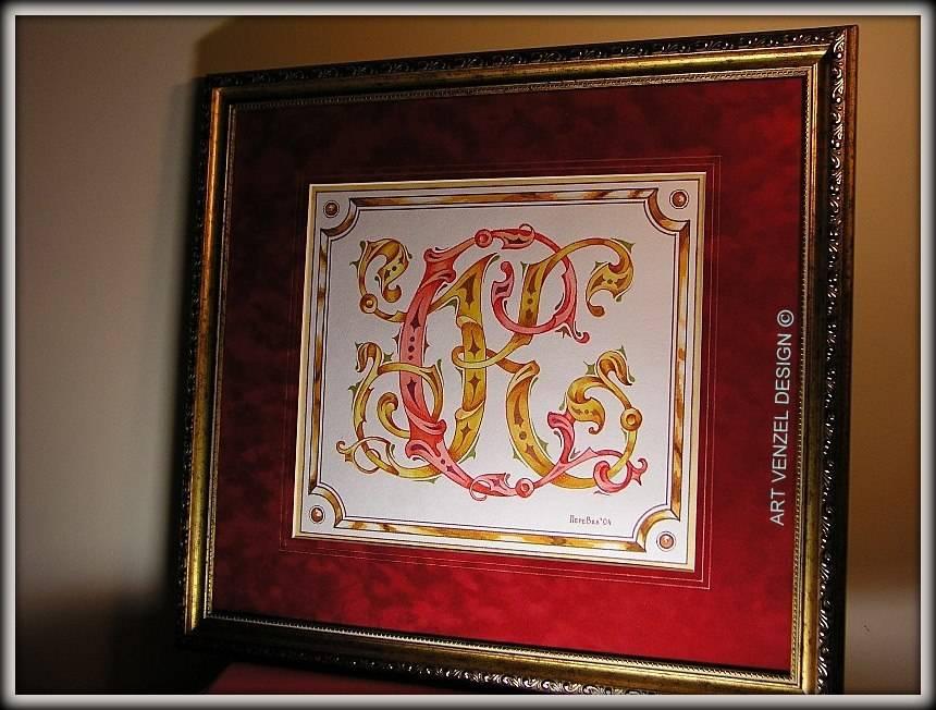 """monogram """"С.К."""" ================ Личный вензель на заказ для Сергея Коровина. /смешанная техника — акварель, темпера, акрил, пастель, музейное паспарту """"замша"""", евробагет, стекло, подвес 53 х 48 см.../"""
