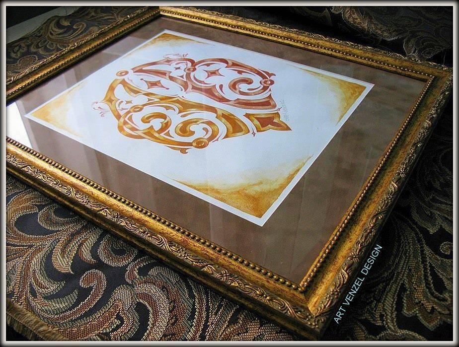 """monogram """"А.В."""" ================ Фамильный вензель на заказ. Смешанная техника - акварель, тушь, темпера """"Antique Gold"""", пастельный карандаш, хлопковая бумага ручного отлива, размер без багета и паспарту 25 х 35 см."""