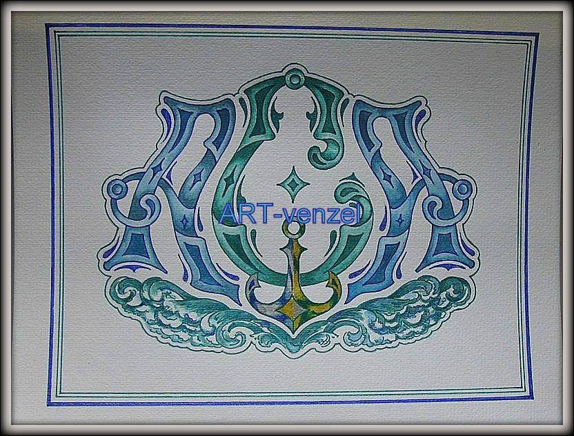 """monogram """"А.С.А."""" ================ Фамильный вензель =А.С.А.= для яхтсмена в подарок на свадьбу. (акварель, темпера, тушь, акрил, тисненая бумага ручного отлива, паспарту, евробагет, 53х45 см)"""