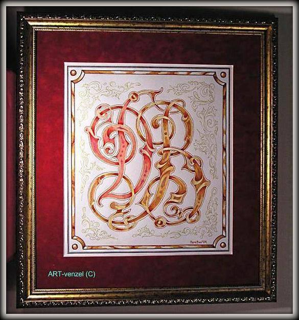 """monogram """"Д.В."""" ================ Вензель на заказ """"Д.В."""" для бизнес- подарка деловому партнеру. /темпера, акварель, тушь, пастель, музейное паспарту """"замша"""", стекло, евробагет, подвес, 47 х 55 см/"""