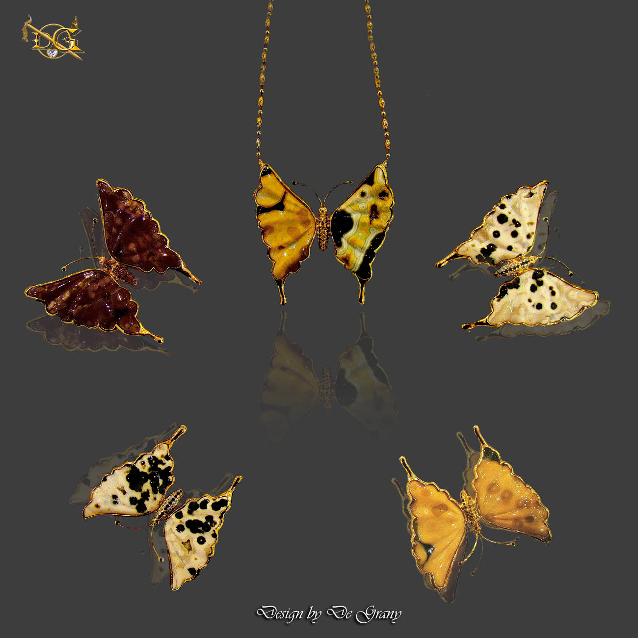 Pendants Butterflies: gold, red, black, yellow, white diamonds and African jasper