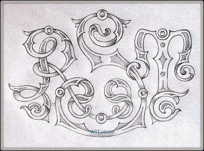 """monogram """"R.S.T."""" ================ Свадебный вензель на заказ для приглашений, аксессуаров и большого декоративного панно из пенопласта. /карандаш, руки, голова, настроение/"""