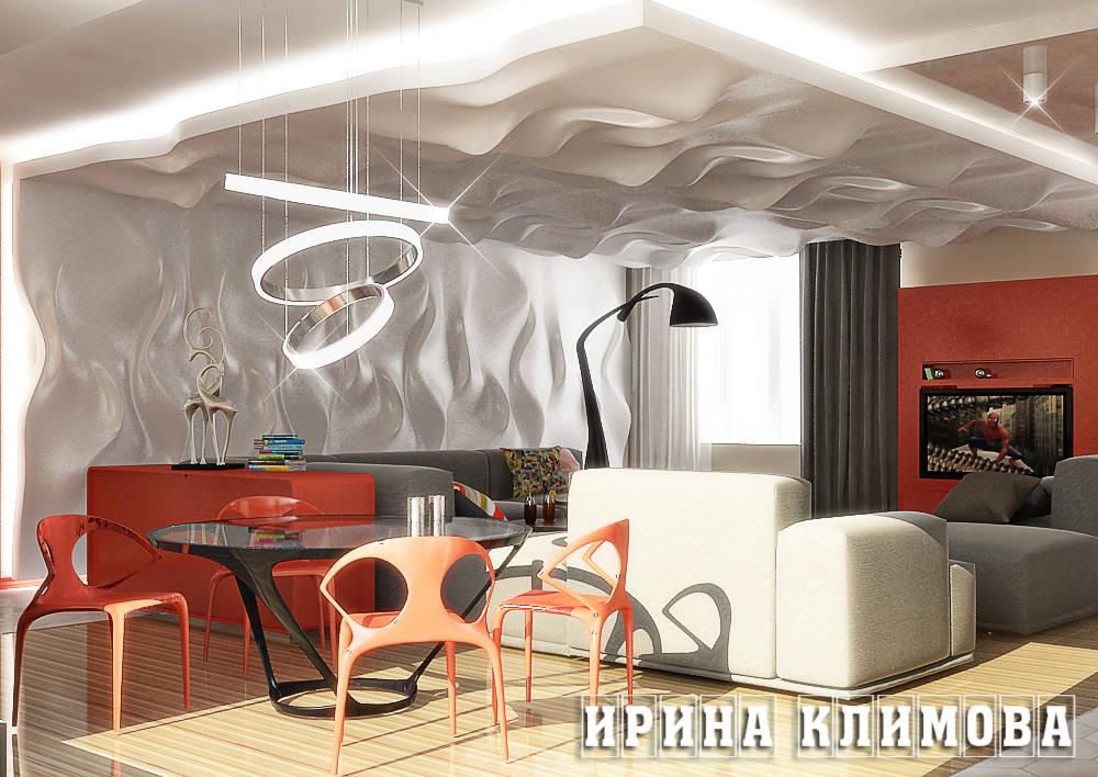 Между гостиной, кухней и столовой нет перегородок, визуальным разделением служит игра объемов потолка. Декоративные 3д панели доминируют в гостиной, являясь ярким декором и выделяя зону отдыха с огромным уютным диваном и телевизором.