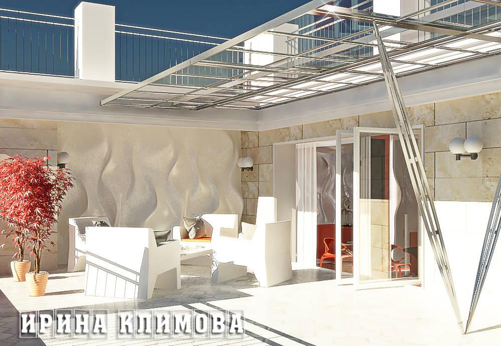 В оформлении террасы так же присутствуют 3д панели, что дополнительно объединяет эти пространства. Так же предложено устроить раздвижной стеклянный козырек, который при необходимости укроет от дождя и придает стильный и современный вид террасе.