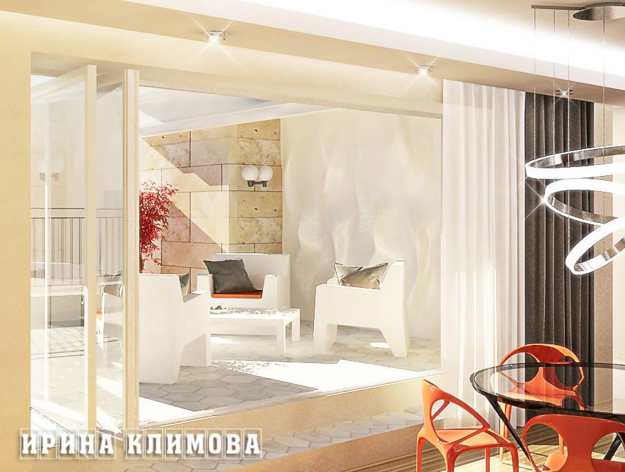 """Изюминка апартаментов - открытая терраса. Устройство дверей """"гармошкой"""" позволяет в теплое время года объединить пространства террасы и кухни-гостиной во едино."""