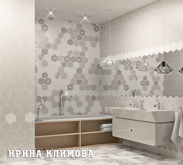 Все санузлы решены в единой стилистике с применением необычной шестигранной керамической плитки.