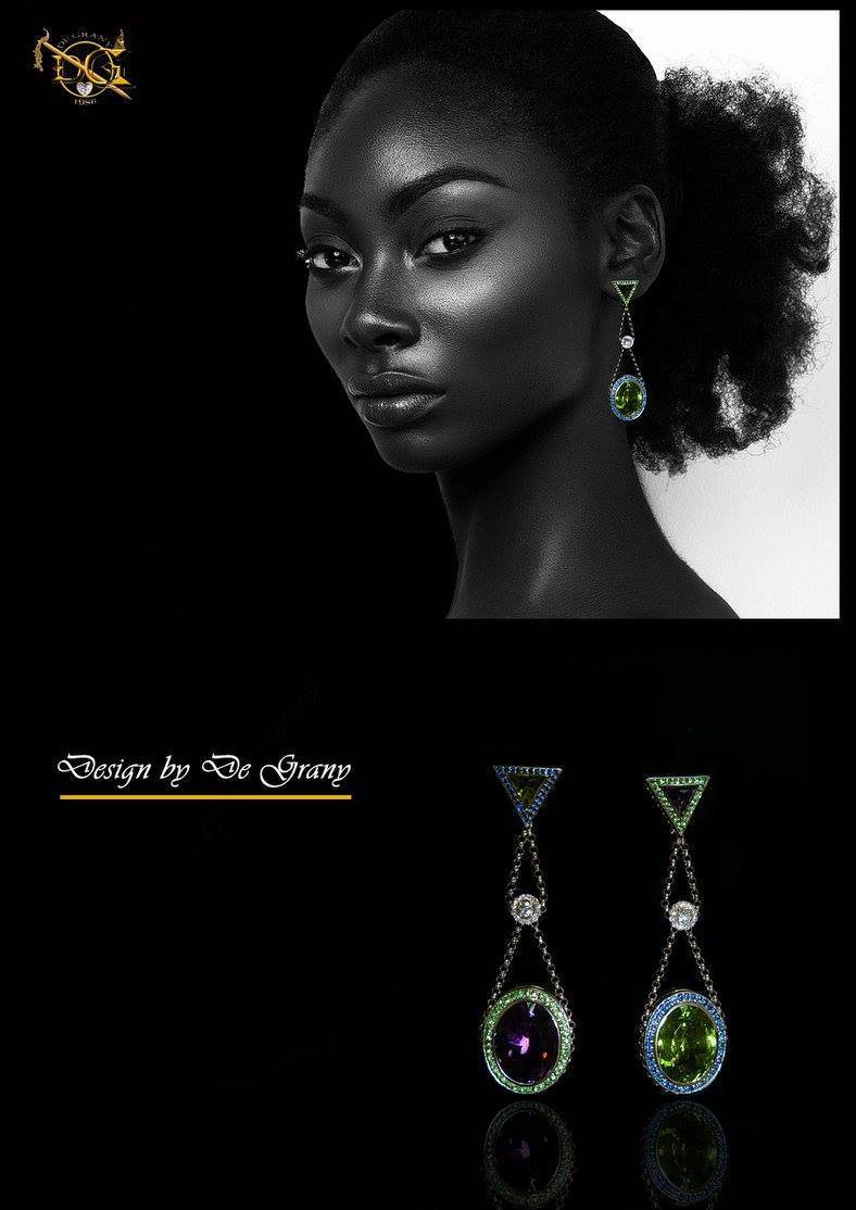 "Earrings ""Julia"", gold, diamonds, amethysts, peridot, tsavoriity"