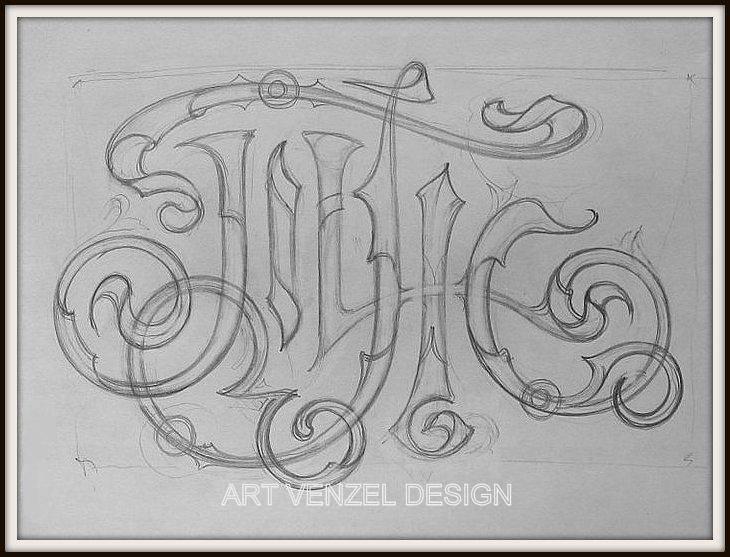"""Вензель """"Т.Ж."""" на заказ к юбилею /акварель, тушь, пастель, 25 х 33 см/ начальная отрисовка общей эстетики монограммы."""