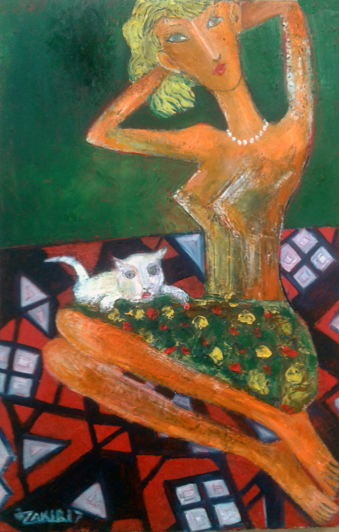.Girl and cat 2017year 45x30cmOriginal Painting Oil on Canvas2500$