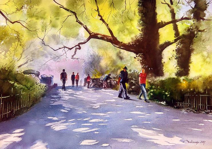 Знаменитый парк,,Stephens Green Park,,вдохновил меня на очередной опыт-сюжет мостика.40*52 см.2017 г.