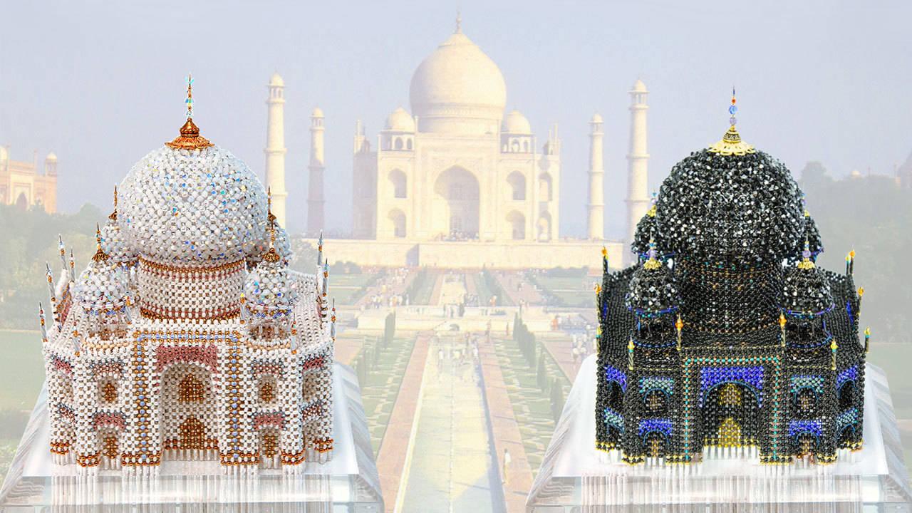 «TAJ MAHAL» (white) Swarovski beads and crystals, Czech and Japanese beads, Czech accessories, wire, glue. Size: 150×150×160 mm. Package: 200×200×190 mm.   «TAJ MAHAL» (black) Swarovski beads and crystals, Czech and Japanese beads, Czech accessories, amethyst, wire, glue. Size: 150×150×160 mm. Package: 200×200×190 mm.