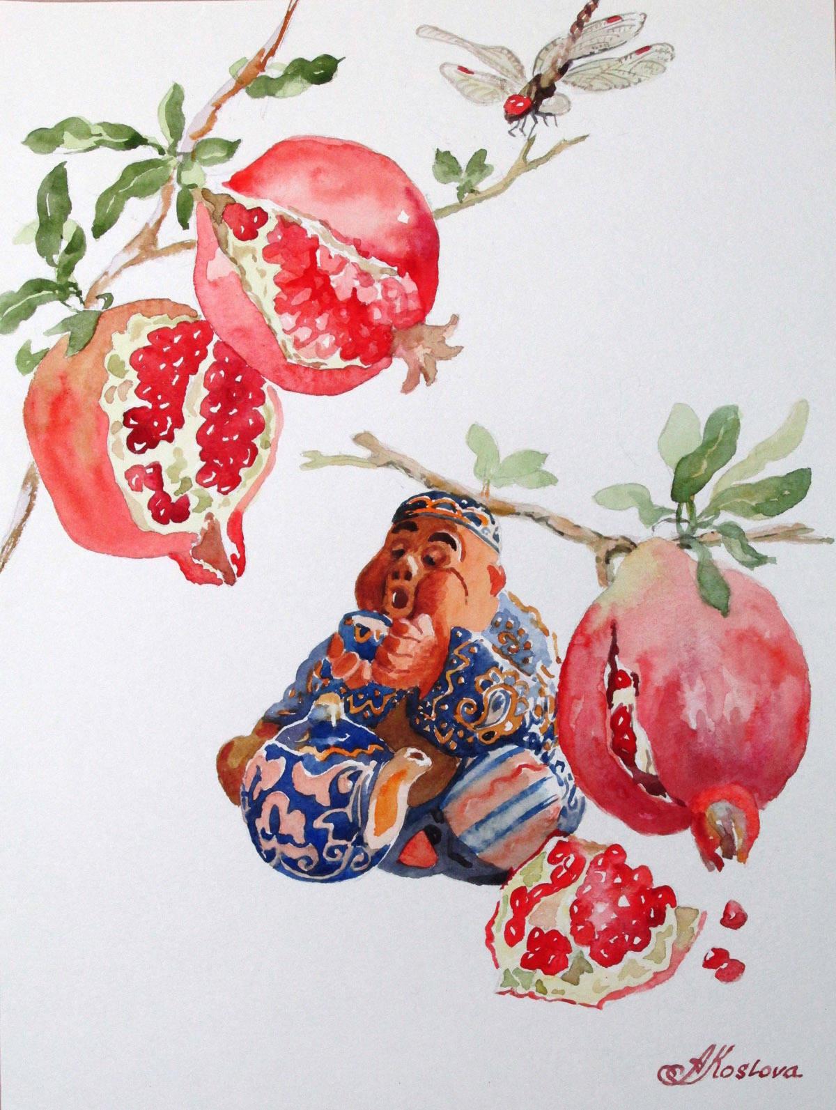 Бабайчик под гранатом. Сидит он в жаркую летнюю пору под гранатом, пьет чай и сам как гранат висит на веточке.... (Бабайчик--популярная в Узбекистане  глиняная игрушка--сувенир)
