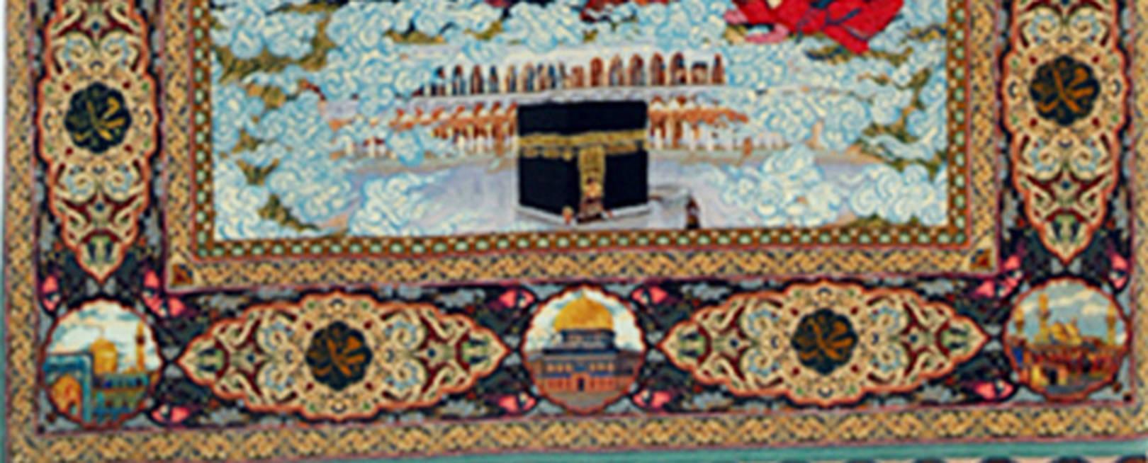 Чисто шерстяной ковер ручной работы, на котором изображена встречаПророка Мухаммеда с ангелами и Творцом. Работа выполнена на основе миниатюры XV века. По краяам ковра сотканы суры из Корана. Аналогои этому ковру нет.Ковер  высоко оцененно Государственная комиссией музея ковров Азербайджана .  Размер ковра 2,20 х 1,70 м. Плотность узлов - 55 на 1 см