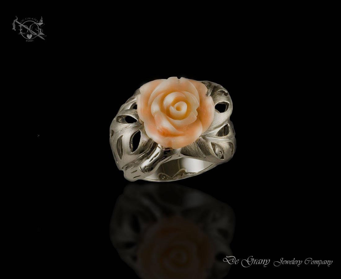 Роза ( коралл и серебро )