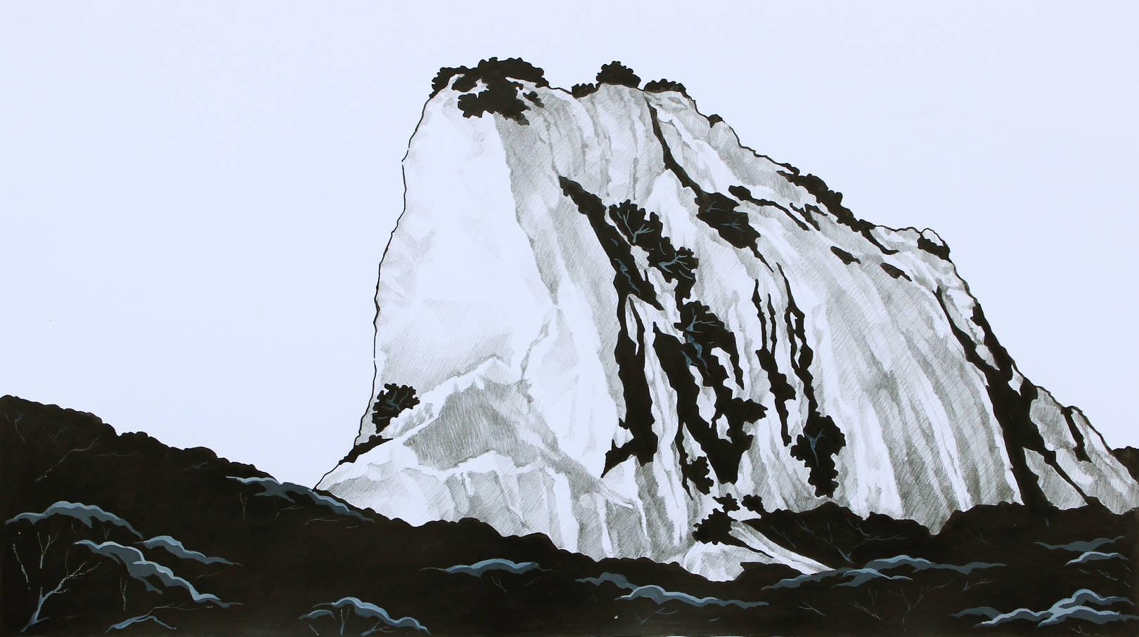 Гора Медовая. Бумага, тушь, карандаш, акрил. 21.5х39см
