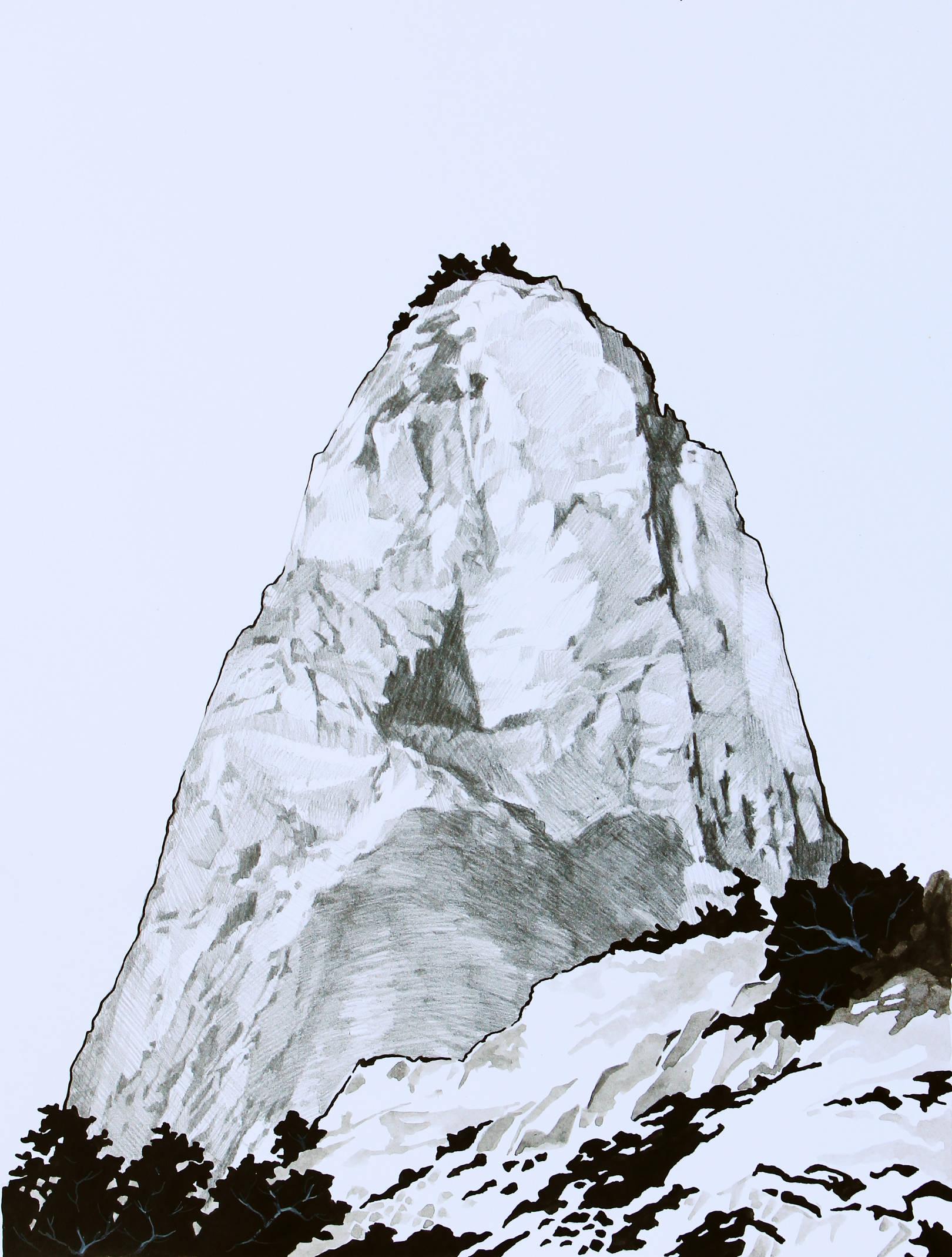 Гора Медовая.Южная стена. Бумага, тушь, карандаш, акрил. 32х22см