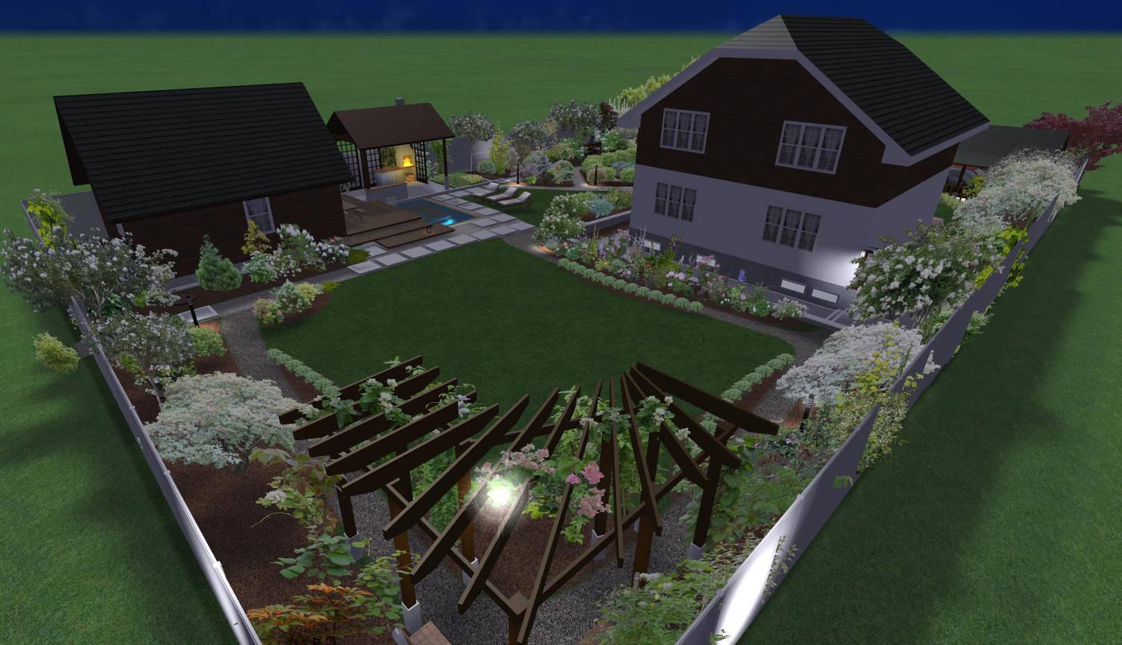 Ландшафтный дизайн участка 15 сот