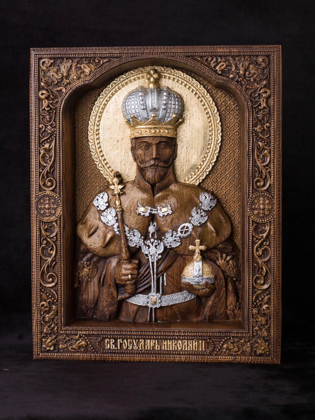 Икона.Святой государь Николай второй.Материал дерево ясень.Сусальное золото,серебро, воски. Размер 26х21 см