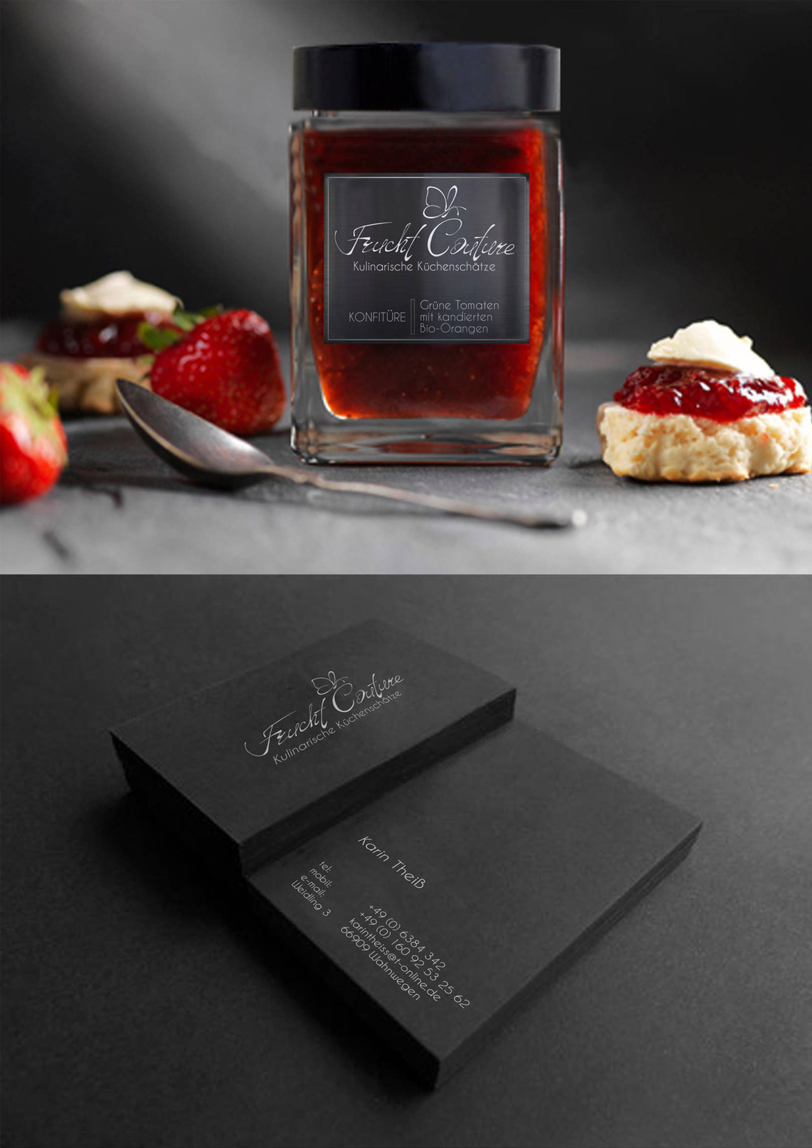 redesign of logo, business cards and packaging for the German jam