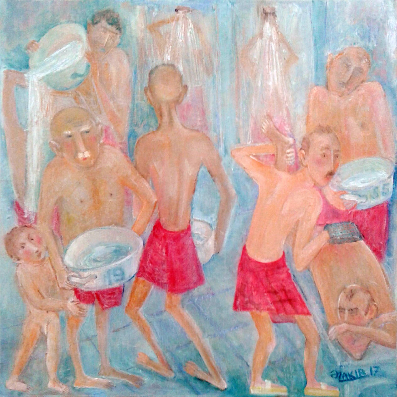 Turkish bath 2017year 40x40cm Original Painting Oil on Canvas2500$