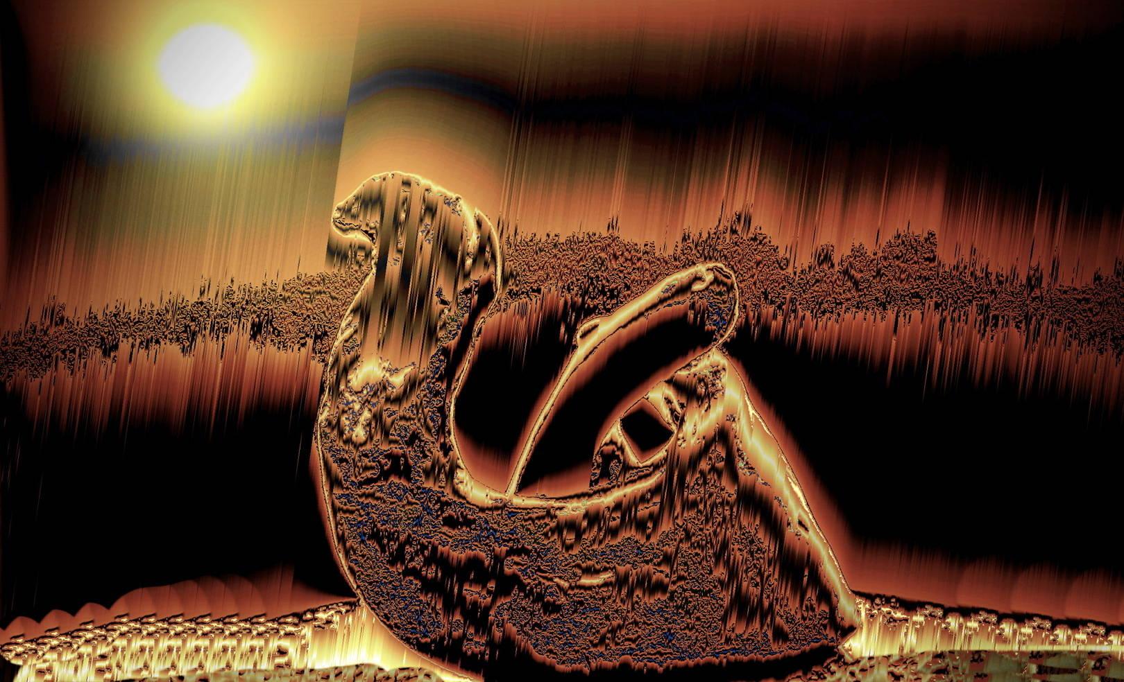 Верблюд.  графика сделана в фоторедакторе со своей скульптуры.