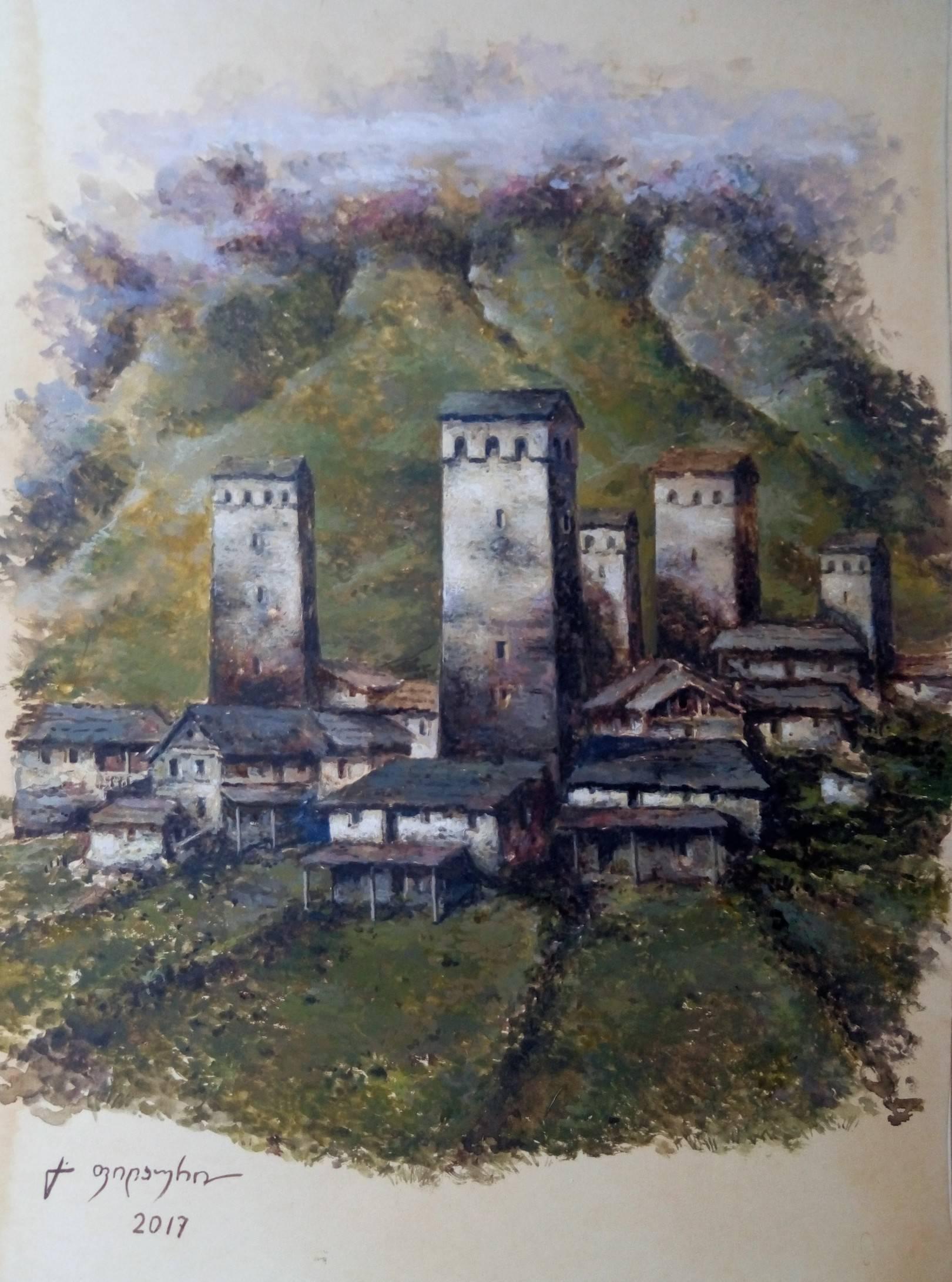 «Сванети»       бумага, акварель, гуашь «Svaneti»          paper, aquarelle, gouache 40x29, 2017