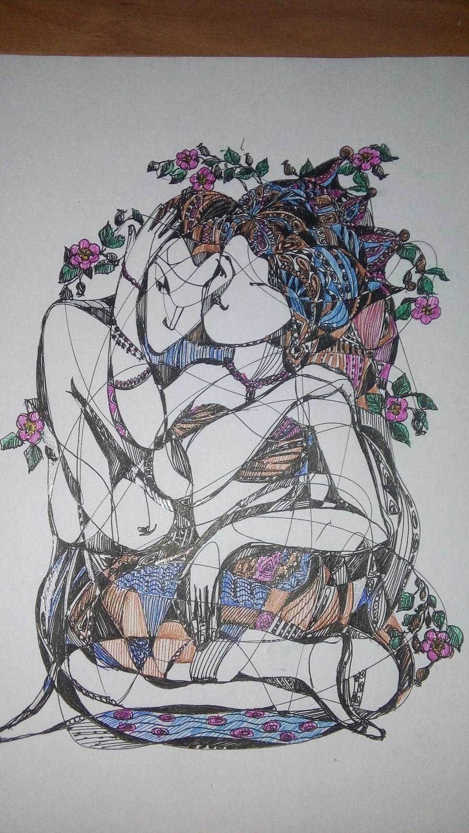 эротические сны, а может и не сны? Бумага , гелевые ручки формат А4