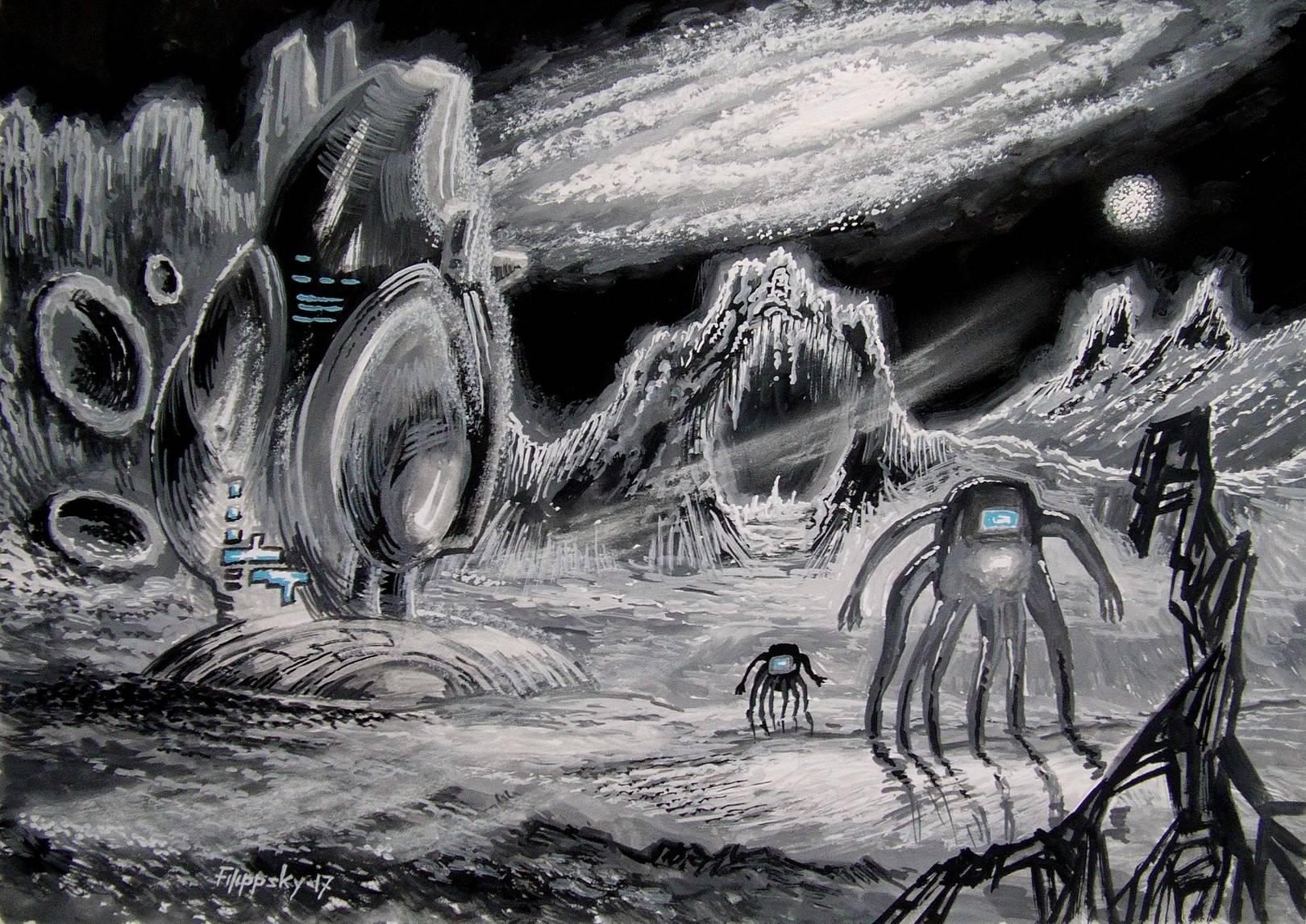 Пейзаж с галактикой и кораблём инопланетян.