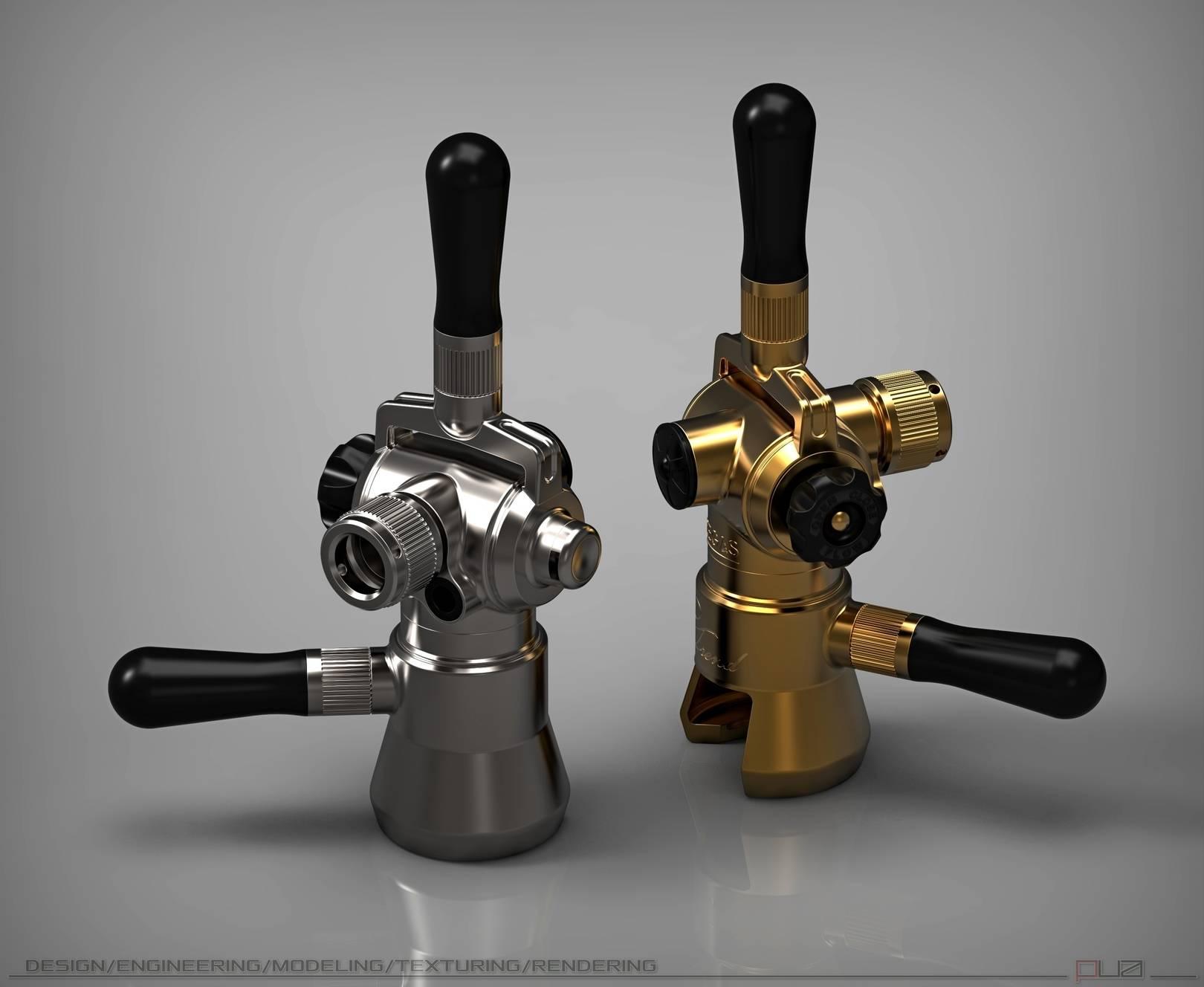 Устройство (Pegas), для беспенного розлива пива.  Промышленный дизайн, моделирование, визуализация.