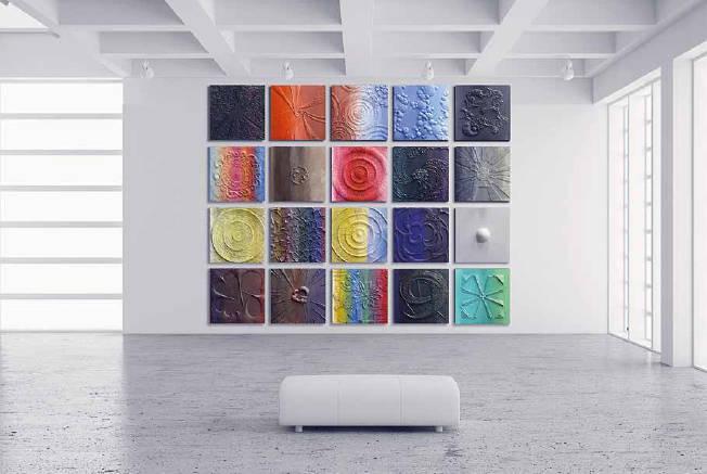 """""""СОСТОЯНИЕ ДУШИ"""". 20 барельефов, абстрактная скульптура. Композитный материал раскрашенный/// """"A STATE OF MIND"""". 20 bas-reliefs, abstract sculpture. Composite painted."""