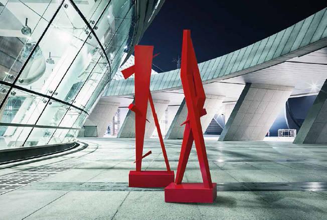 """""""ЖИЗНЕННЫЕ ПОЗИЦИИ"""". Современная абстрактная скульптура с использованием острых геометрических форм. Металл крашенный///""""POSITION IN LIFE"""". Modern abstract sculpture using sharp geometric shapes. Metal painted."""