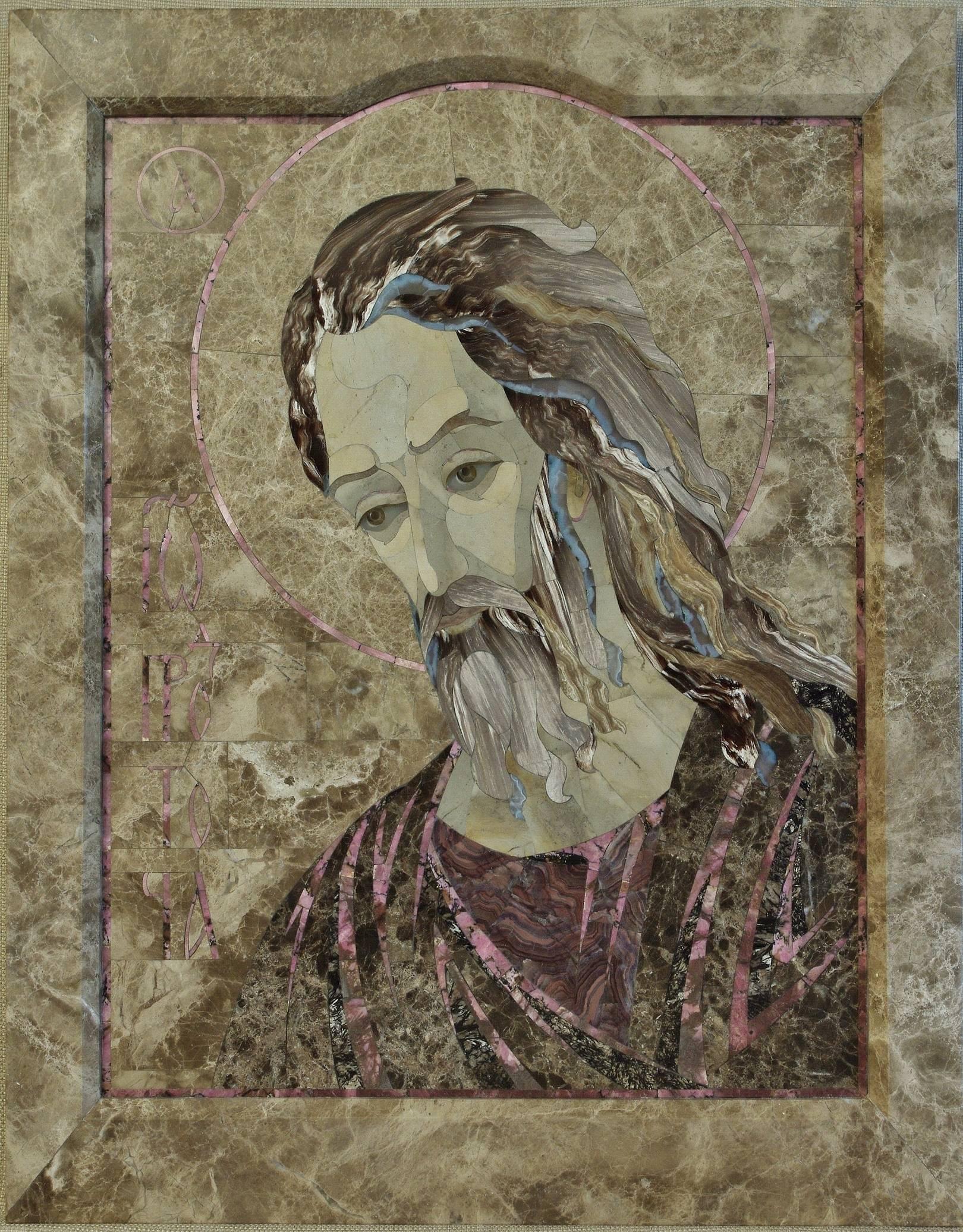 Иоанн Предтеча   флорентийская мозаика:мрамор, родонит, астрофилит, флюорит, кремень, агат, окаменелое дерево, оникс, сердолик, нефрит медовый. 60 х 78 см.