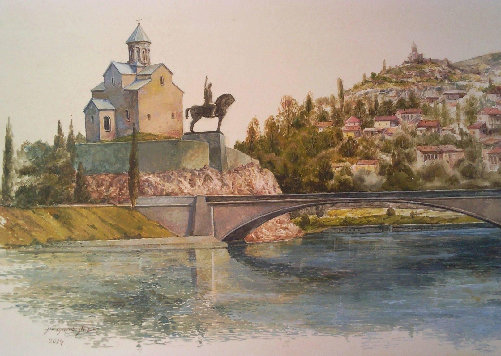 «Тбилиси, Метехи»        бумага, акварель, гуашь «Tbilisi, Metekhi»            paper, aquarelle, gouache           30x50, 2014