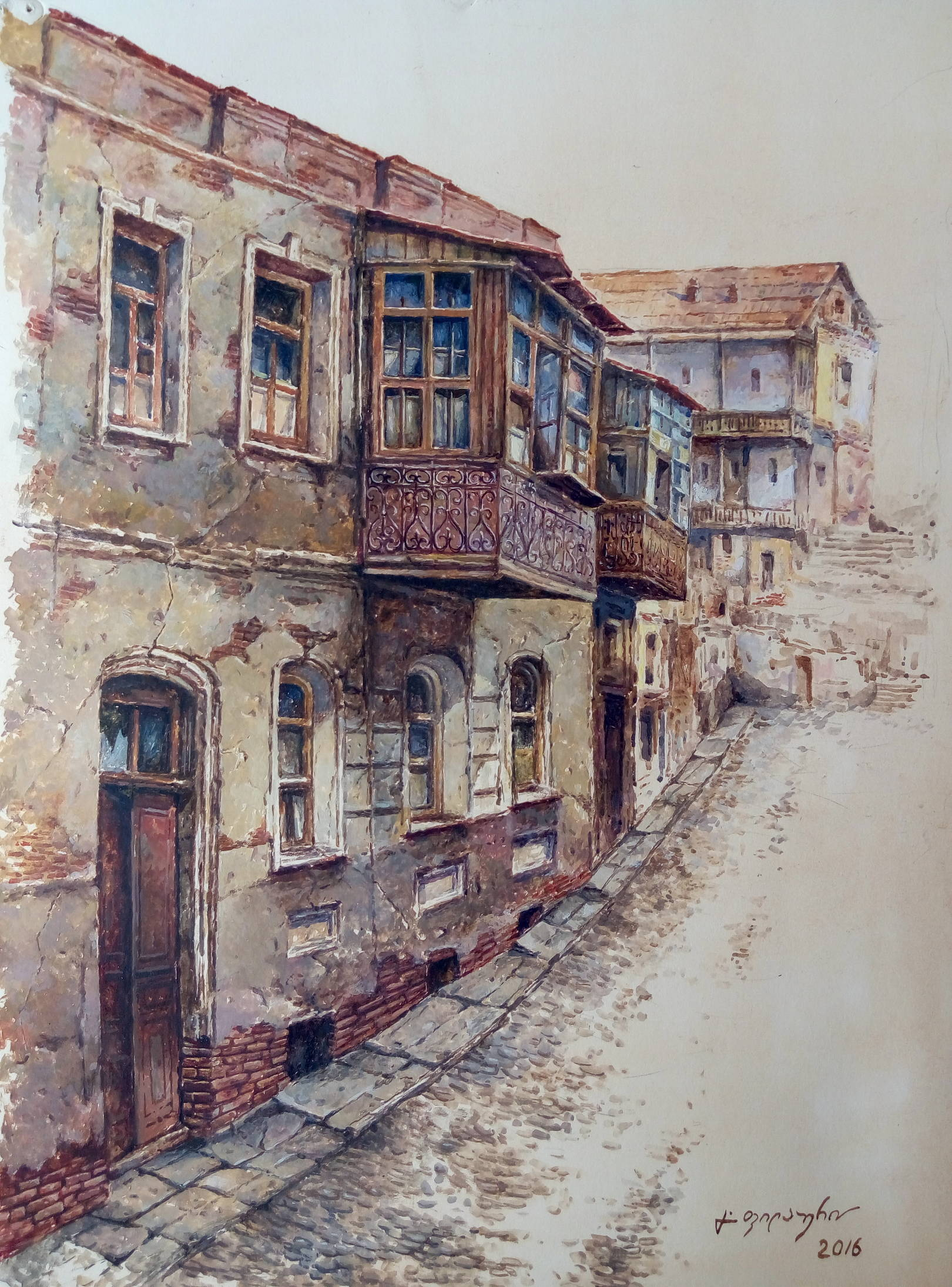 «Старый дом в Абанотубани»                бумага, акварель, гуашь «Old house in Abanotubani»                     paper, aquarelle, gouache 49x39, 2017